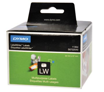 Dymo etiketten LabelWriter ft 57 x 32 mm, verwijderbaar, wit, 1000 etiketten