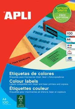 Apli Gekleurde etiketten Ft 105 x 148 mm (b x h), groen, 80 stuks, 4 per blad, etui van 20 blad
