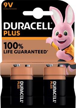 Duracell batterij Plus 100% 9V, blister van 2 stuks