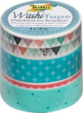 Folia washi tape pastel, pak met 4 stuks in geassorteerde kleuren