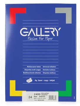 Gallery witte etiketten, ft 66 x 33,9, ronde hoeken, doos van 2.400 etiketten