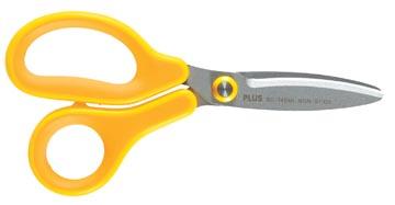 Plus FitCut Curve KIDS schaar voor linkshandigen, fluorine bladen, 14,5 cm, geel, op blister