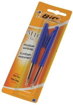 Bic balpen M10 Clic op blister, medium punt, blauw