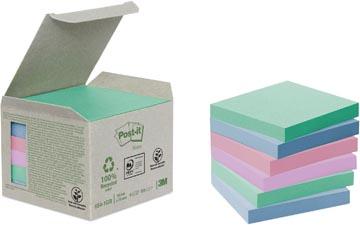 Post-it Notes gerecycleerd, ft 76 x 76 mm, geassorteerde kleuren, 100 vel, pak van 6 blokken