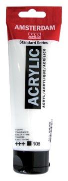 Amsterdam acrylverf tube van 120 ml, zinkwit