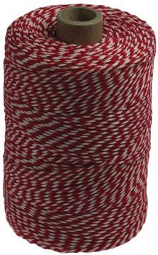 Katoentouw, rood-wit, klos van 200 g, ongeveer 200 m