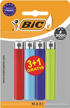 BIC Maxi vuursteen aanstekers, geassorteerde kleuren, blister van 3 + 1 gratis