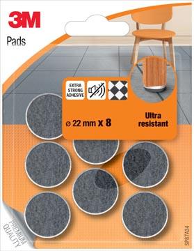 3M viltglijders, Ultra Resistant, diameter van 22 mm, blister van 8 stuks