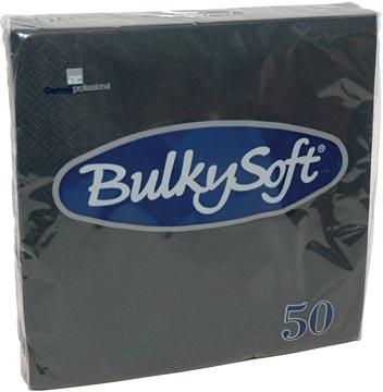 Bulkysoft servetten 2-laags, zwart, pak van 50 servetten